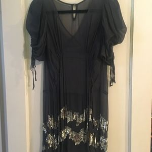 Juicy Couture Chiffon and Gold metal sequin Dress